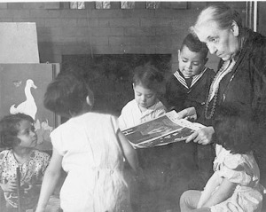 Jane Addams With Children at Hull House
