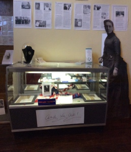 Historic documents with lifesize Jane Addams cutout.
